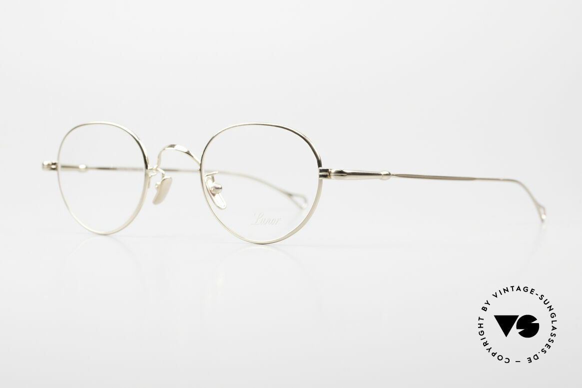 Lunor V 108 Gold Plated Glasses Titanium, model V 108: very elegant Panto glasses for gentlemen, Made for Men