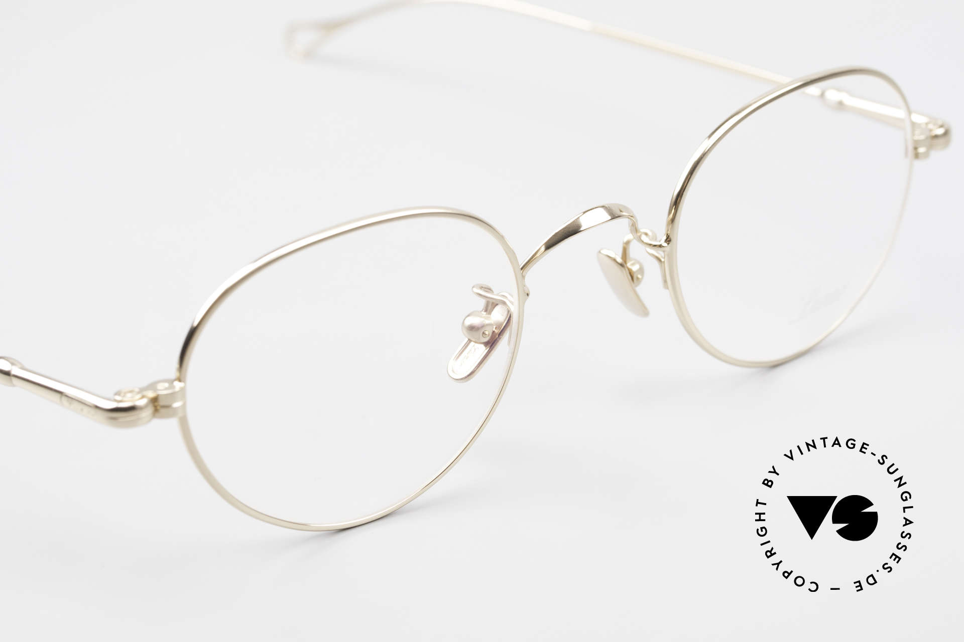 Lunor V 108 Gold Plated Glasses Titanium, of course, an unworn original with pure titanium pads, Made for Men