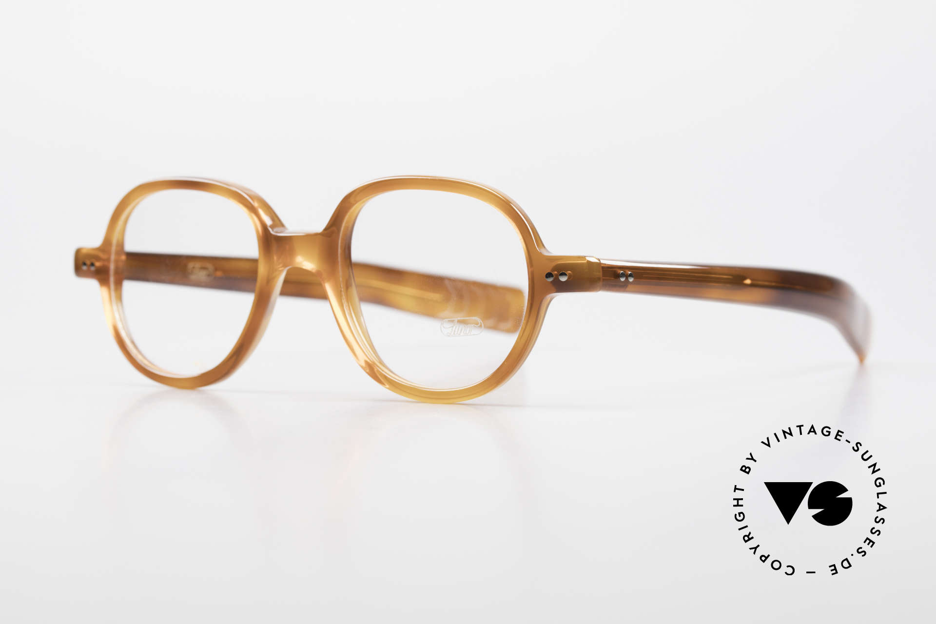 """Lunor A50 Round Panto Acetate Glasses, roundish frame with a classic """"light havana"""" coloring, Made for Men and Women"""