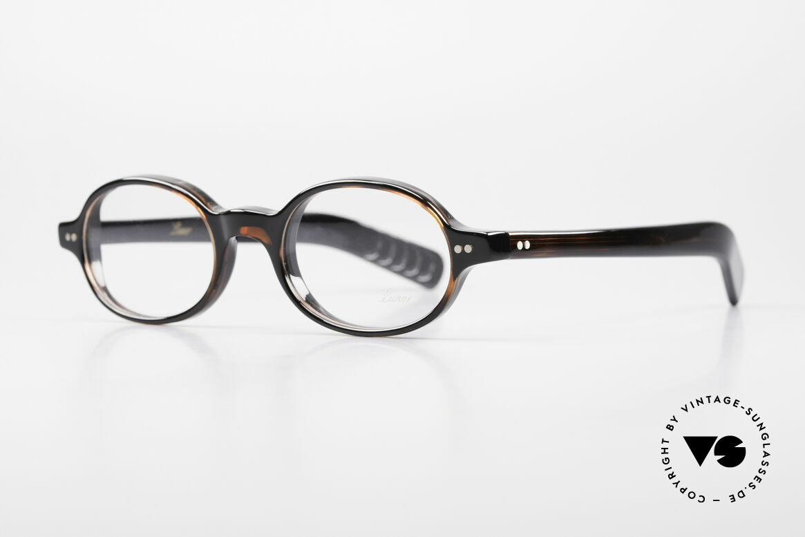 """Lunor A57 Oval Lunor Acetate Glasses, oval frame with classic """"dark havana"""" coloring; timeless, Made for Men and Women"""