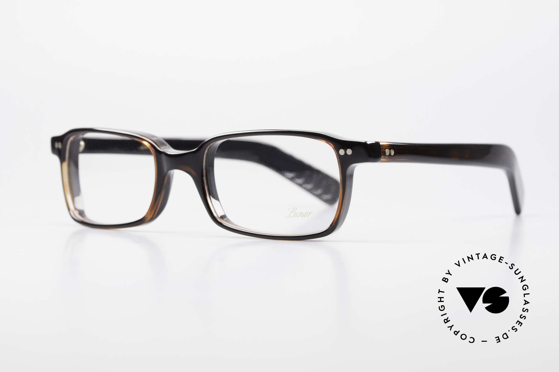 Lunor A55 Square Lunor Glasses Acetate, striking frame with a very classic 'dark havana' coloring, Made for Men and Women