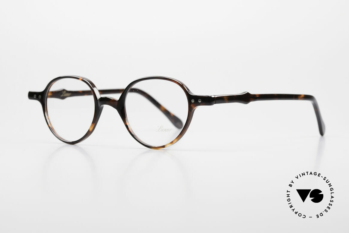 """Lunor A43 Panto Acetate Eyeglass-Frame, PANTO FRAME with a classic """"dark havana"""" coloring, Made for Men and Women"""