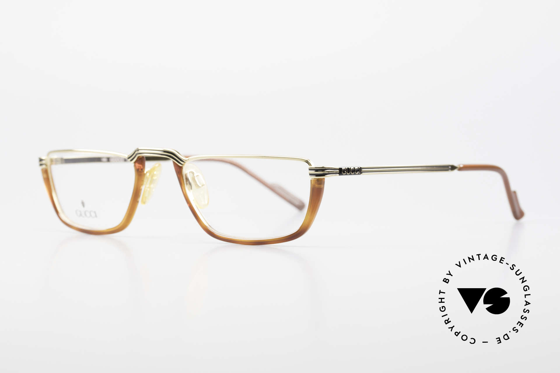 Gucci 1306 Designer Reading Eyeglasses, GOLD-PLATED in size 53-21 & with original case, Made for Men