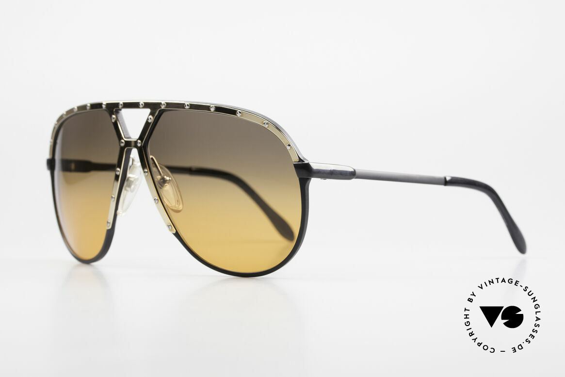 Alpina M1 80's XL Aviator Sunglasses, black frame with GOLD-plated cover and temples, Made for Men
