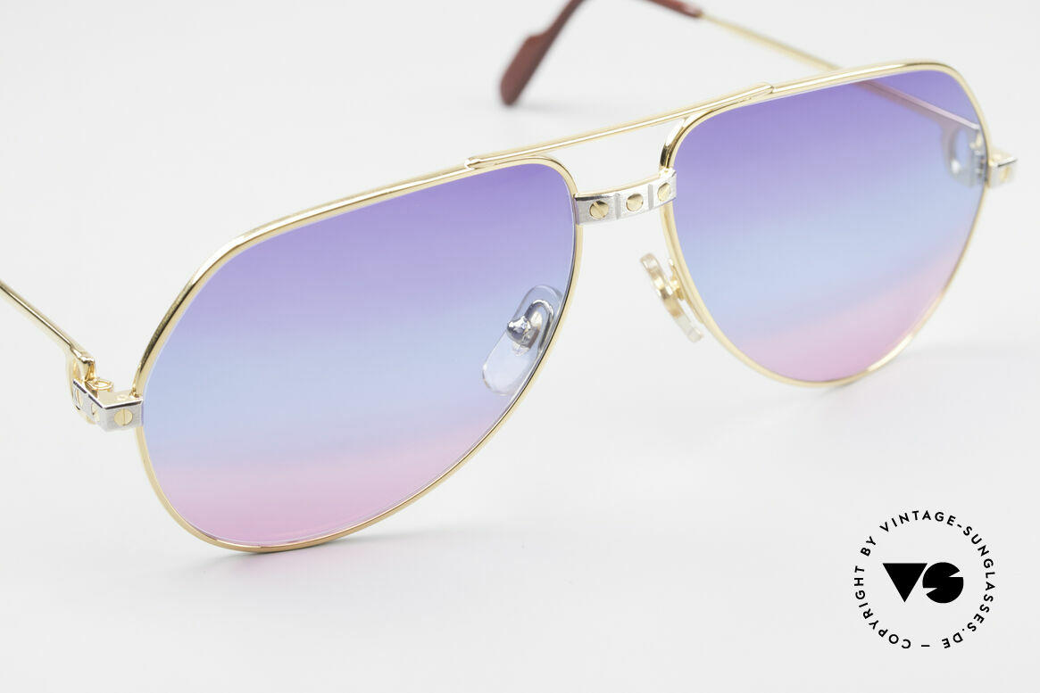Cartier Vendome Santos - M One Of A Kind 80's Collectible, with fancy tricolored sun lenses (typically 80's fashion), Made for Men and Women