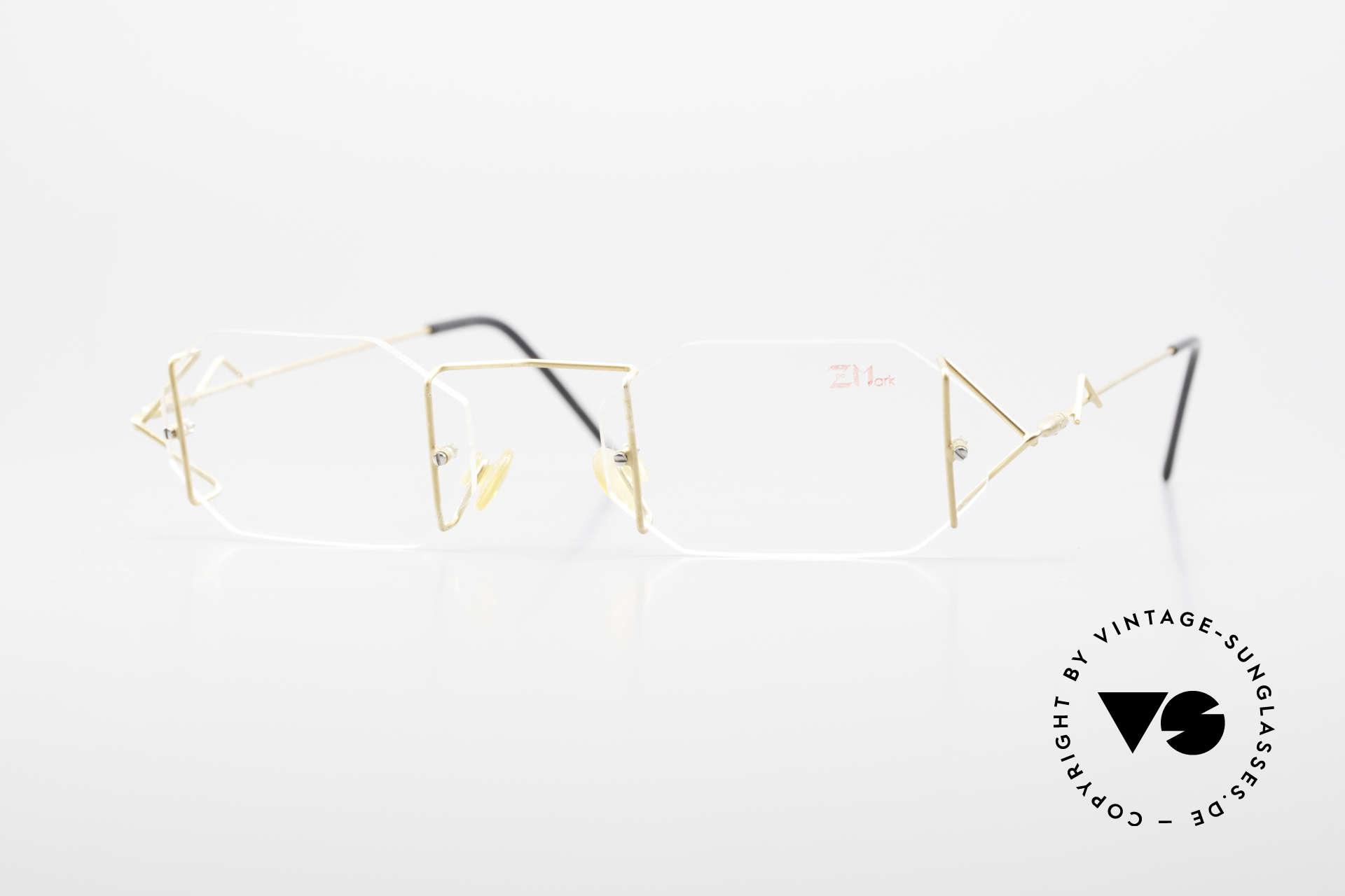 Z Mark 9 Artful 90's Rimless Eyeglasses, vintage 1990's Z-Mark designer eyeglass-frame, Made for Men and Women