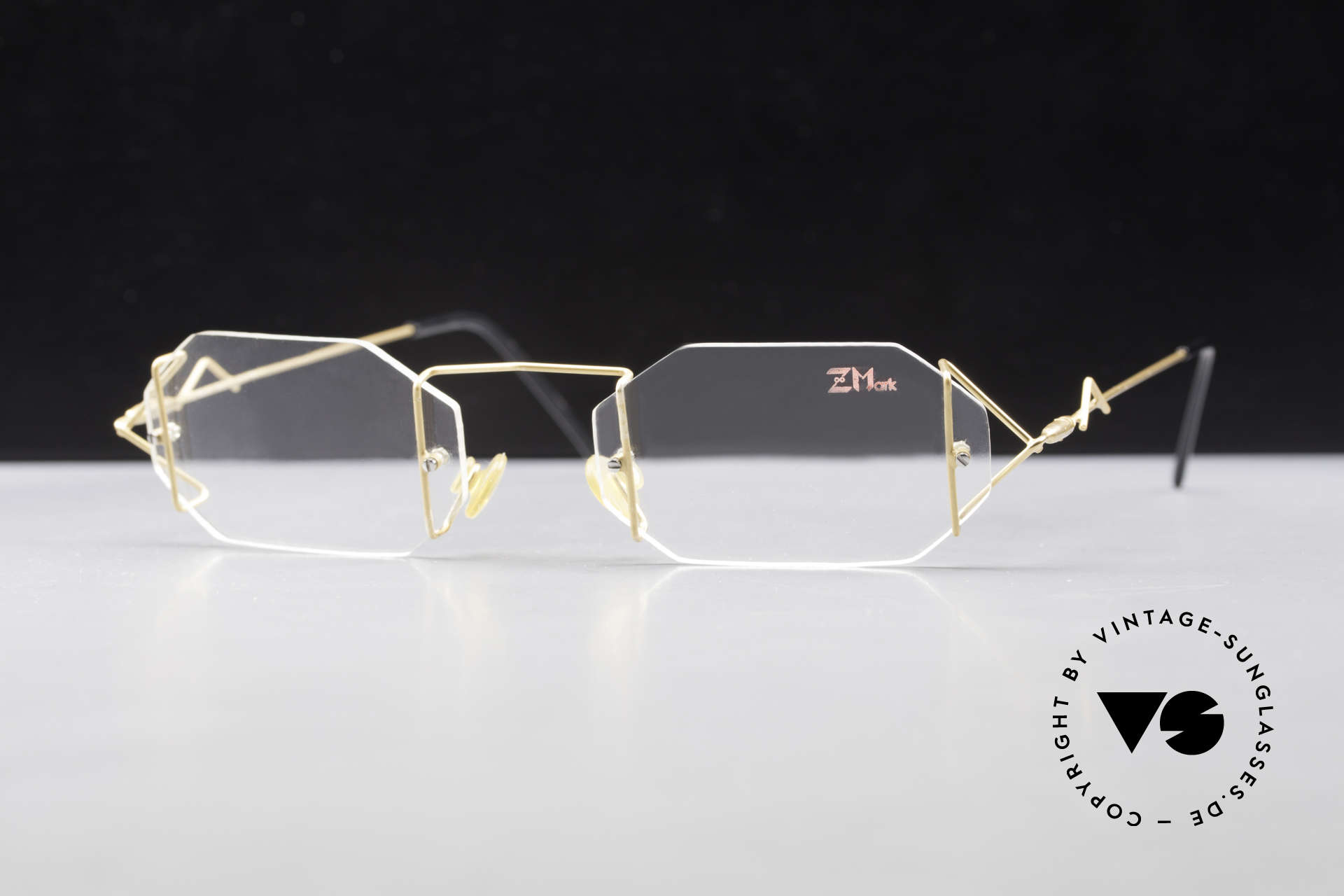 Z Mark 9 Artful 90's Rimless Eyeglasses, filigree & cleverly devised design; simply chichi, Made for Men and Women
