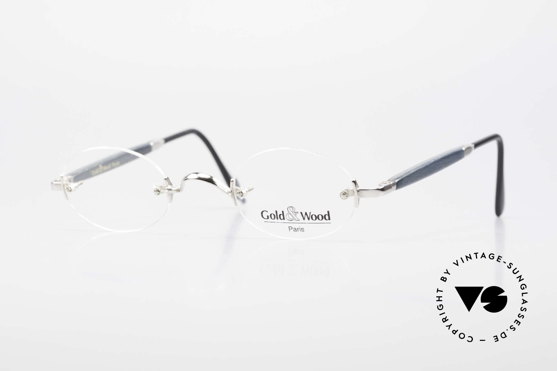 Gold & Wood 338 Luxury Rimless Specs Oval 90's, Gold & Wood Paris glasses, 338-16 in size 42-26, Made for Men and Women