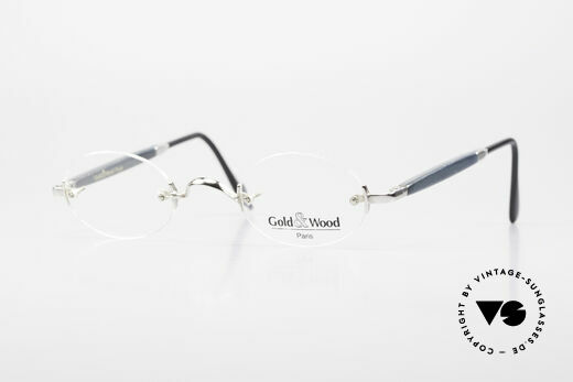 Gold & Wood 338 Luxury Rimless Specs Oval 90's Details