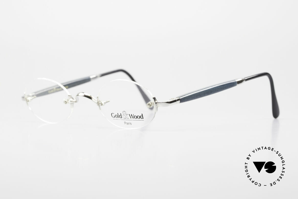 Gold & Wood 338 Luxury Rimless Specs Oval 90's, classic unisex model with flexible spring hinges, Made for Men and Women