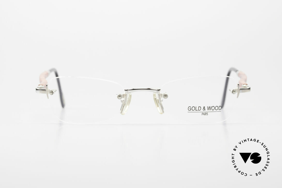 Gold & Wood S12 Luxury Rimless Eyeglass-Frame, Gold & Wood Paris glasses, S12-16; medium size, Made for Men and Women