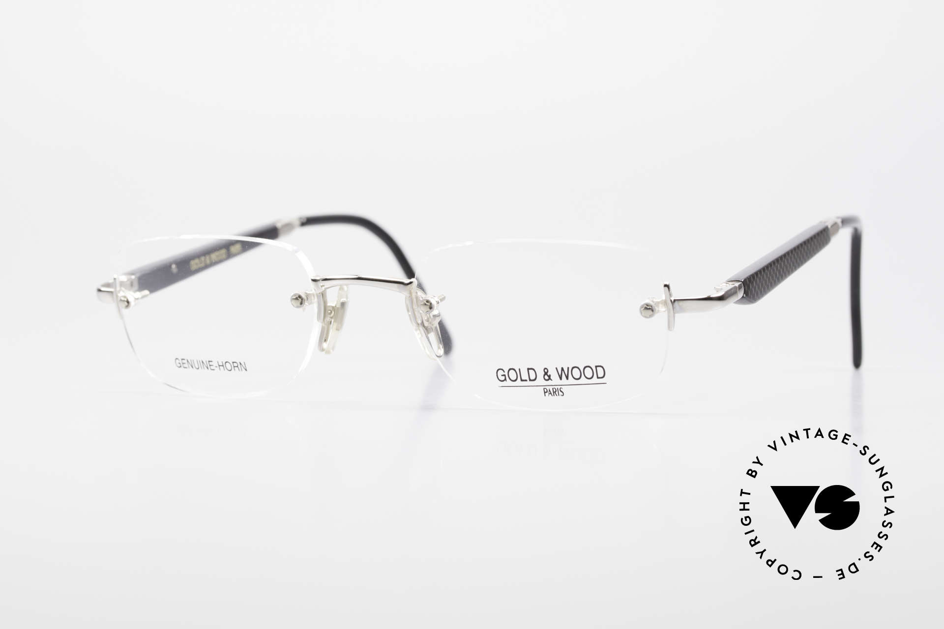 Gold & Wood 332 Genuine Horn Rimless Glasses, Gold & Wood Paris glasses, 332-16, genuine horn, Made for Men and Women