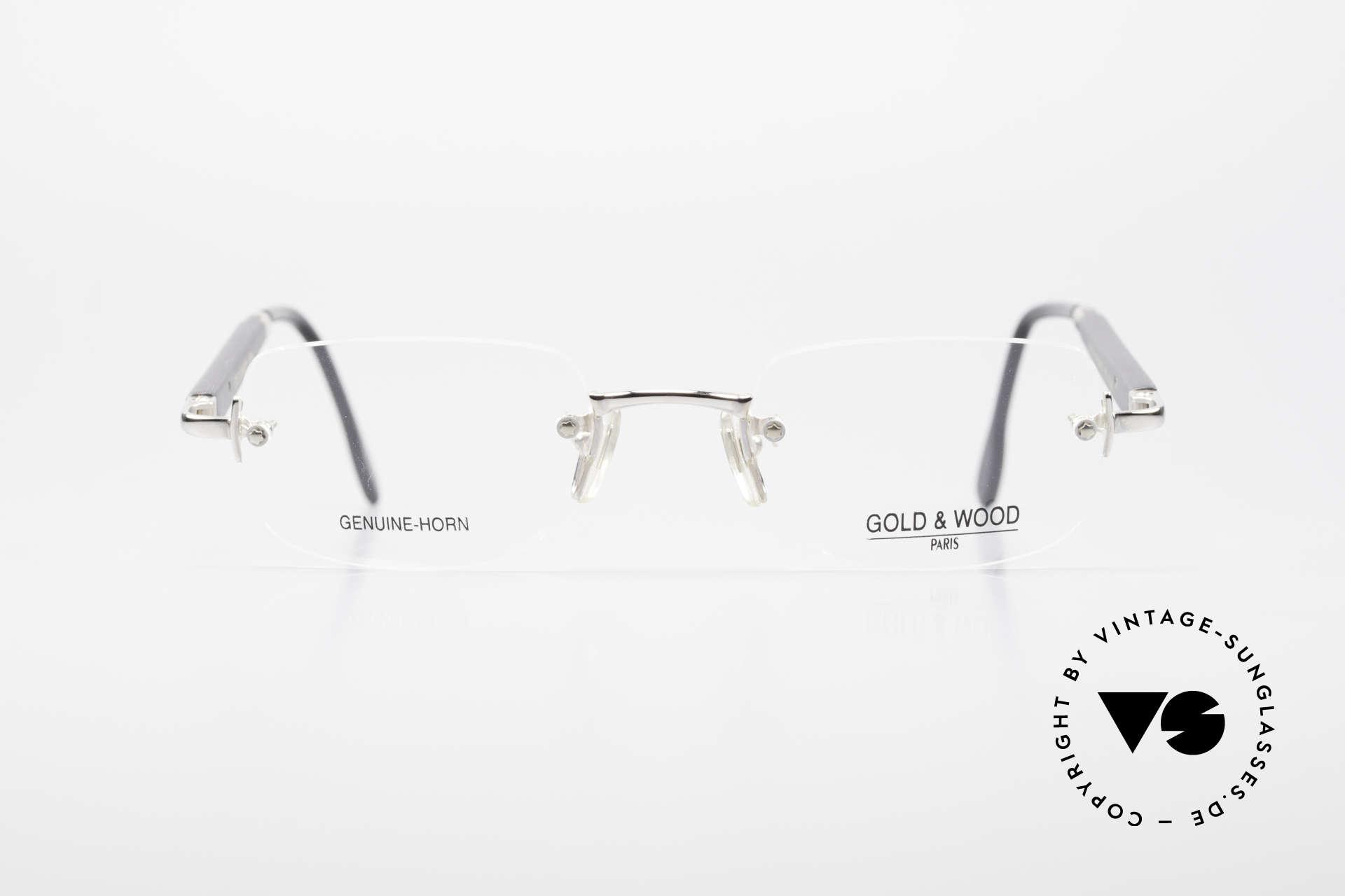 Gold & Wood 332 Genuine Horn Rimless Glasses, rimless LUXURY horn eyeglass-frame from 2001, Made for Men and Women