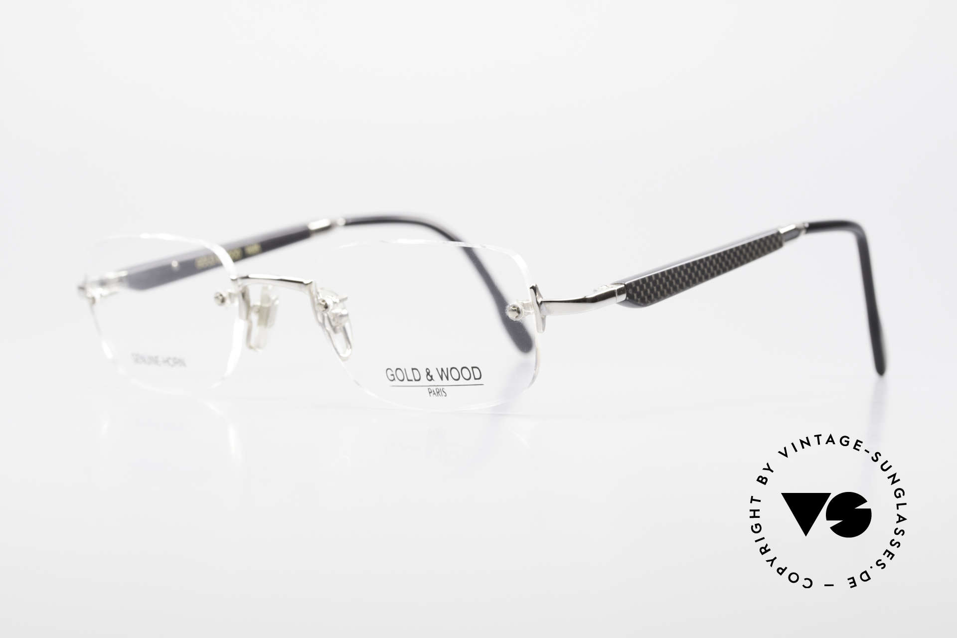 Gold & Wood 332 Genuine Horn Rimless Glasses, classic unisex model with flexible spring hinges, Made for Men and Women