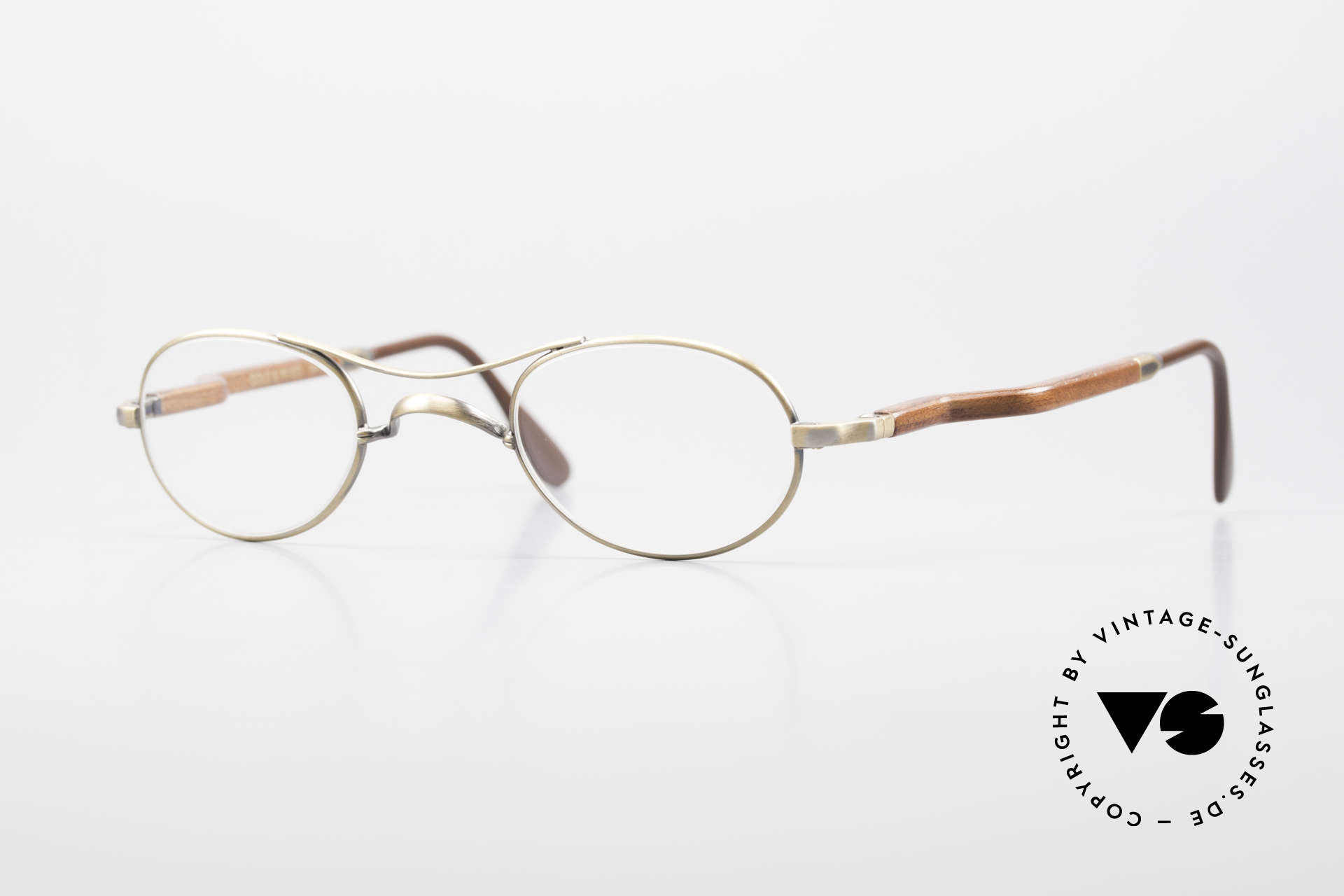 Gold & Wood 352 Luxury Wooden Specs Oval 90's, Gold & Wood Paris glasses, 352-33 in size 44-24, Made for Men and Women