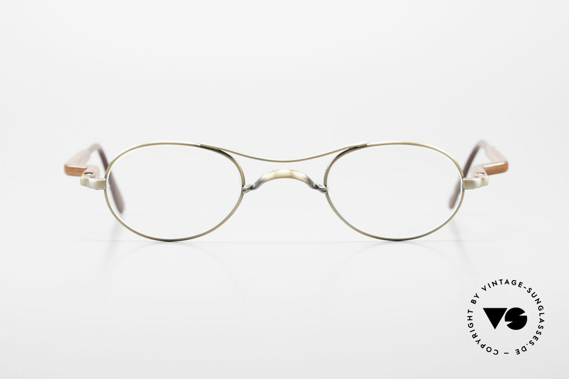 """Gold & Wood 352 Luxury Wooden Specs Oval 90's, oval wooden eyeglasses """"antique gold"""" from 1999, Made for Men and Women"""