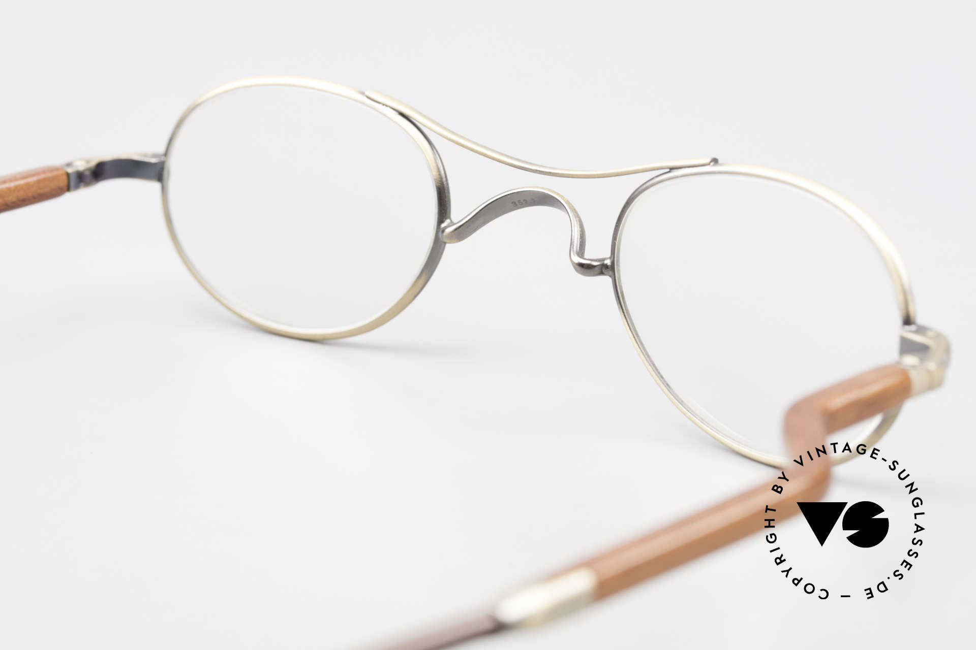 Gold & Wood 352 Luxury Wooden Specs Oval 90's, NO RETRO, but a precious old vintage ORIGINAL, Made for Men and Women