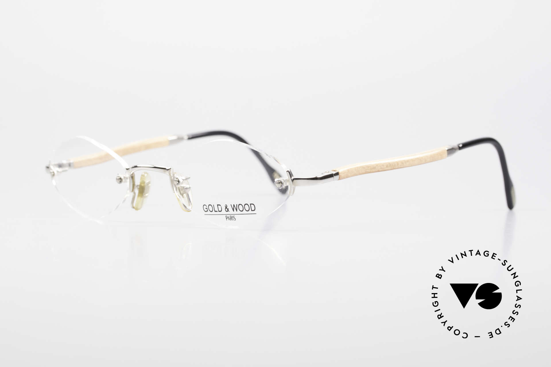 Gold & Wood S02 Luxury Rimless Spectacles, vintage unisex model with flexible spring hinges, Made for Men and Women