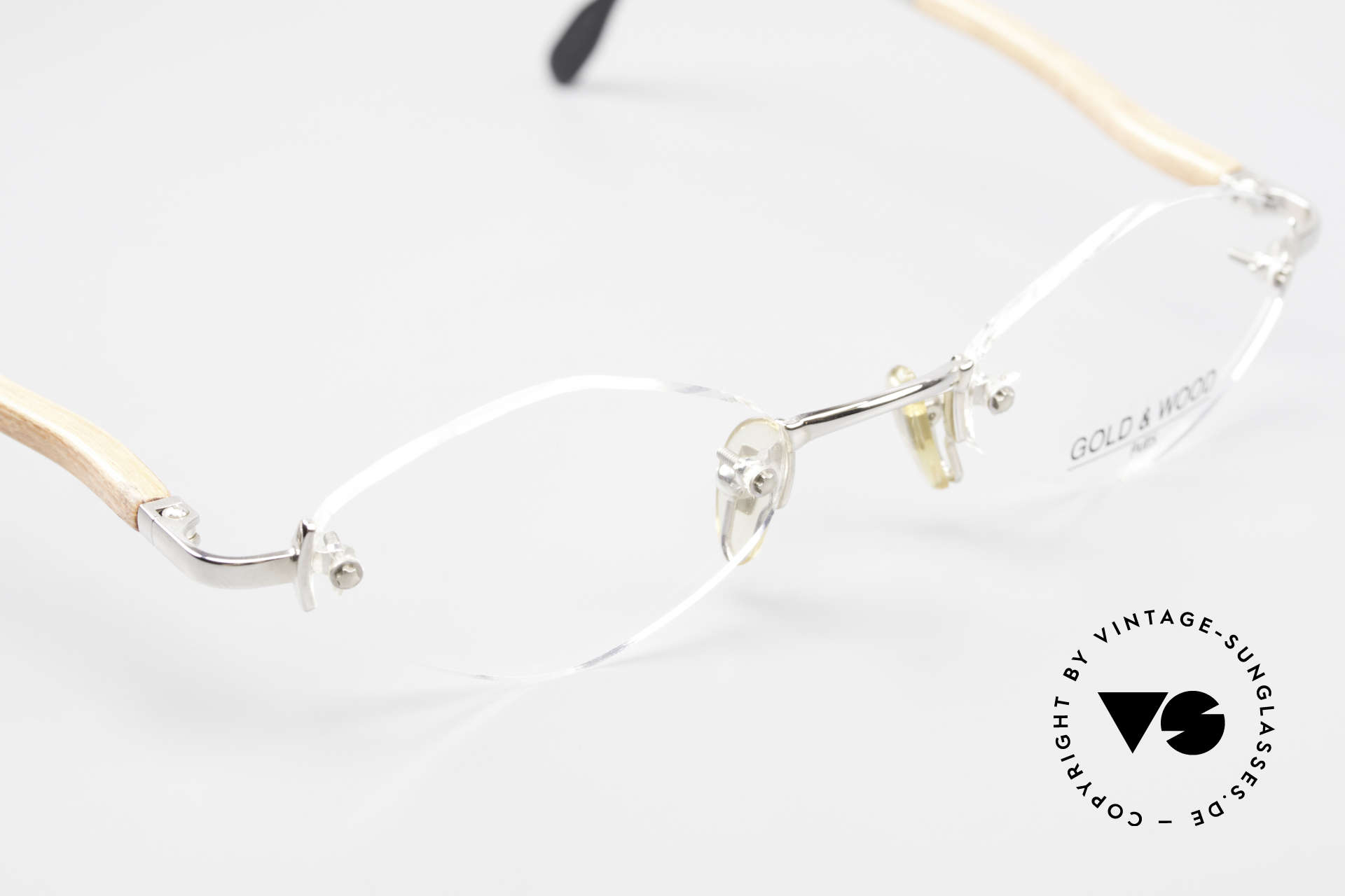Gold & Wood S02 Luxury Rimless Spectacles, NO RETRO, but a precious 20 years old ORIGINAL, Made for Men and Women