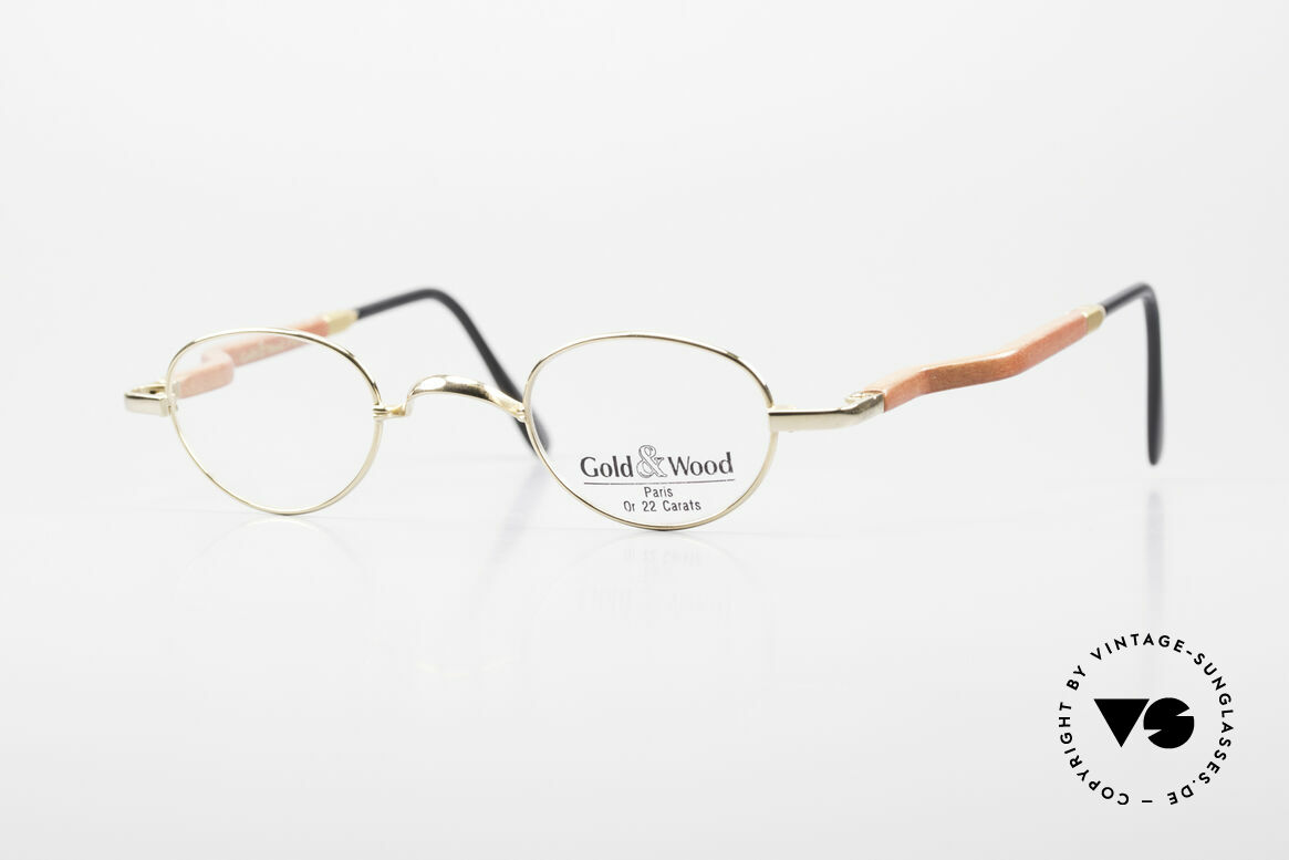 Gold & Wood 326 Wood Frame 22ct Gold Plated, Gold & Wood Paris glasses, 326-53 in size 37-26, Made for Men and Women