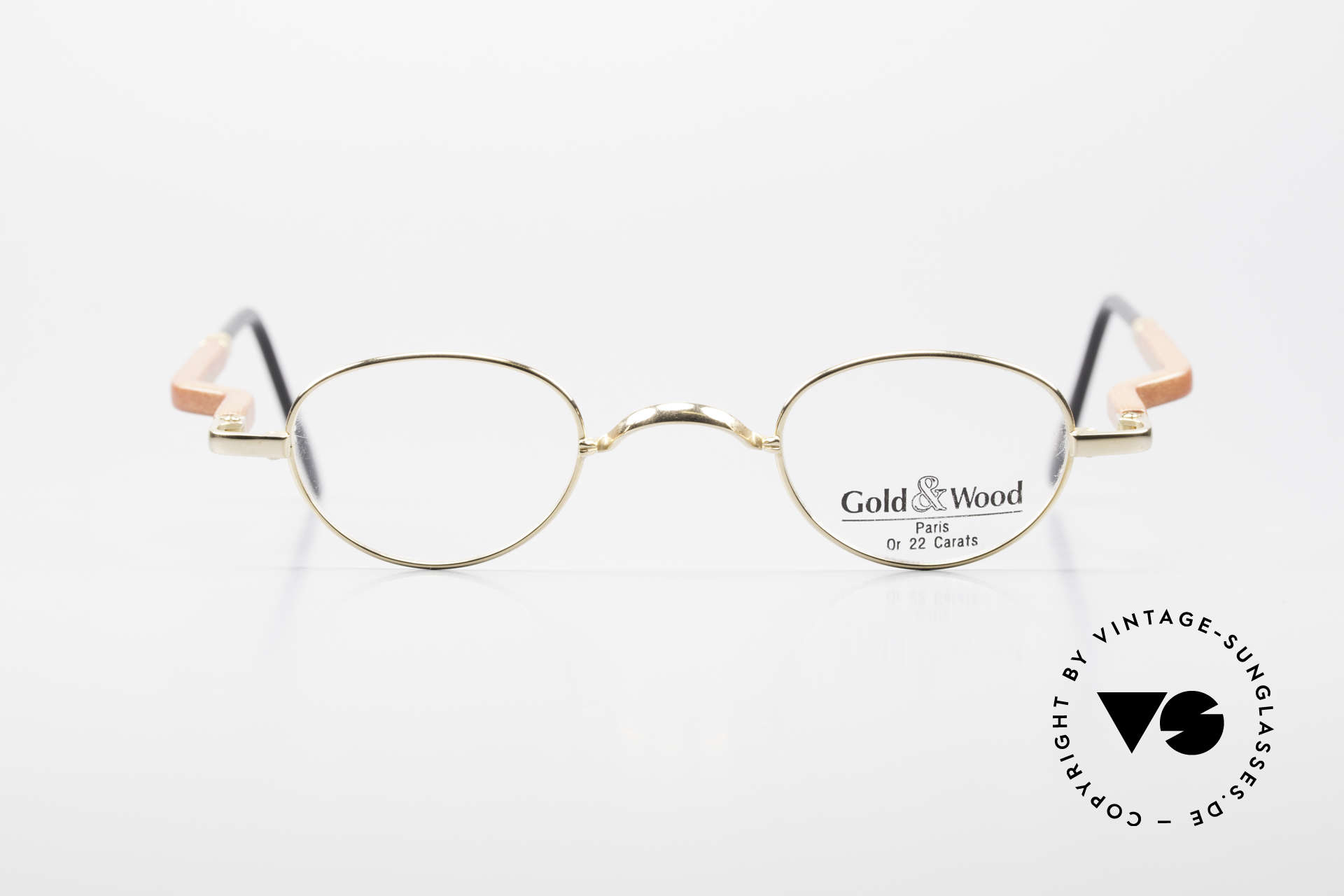 Gold & Wood 326 Wood Frame 22ct Gold Plated, oval 90's wooden eyeglasses, 22ct GOLD-PLATED, Made for Men and Women