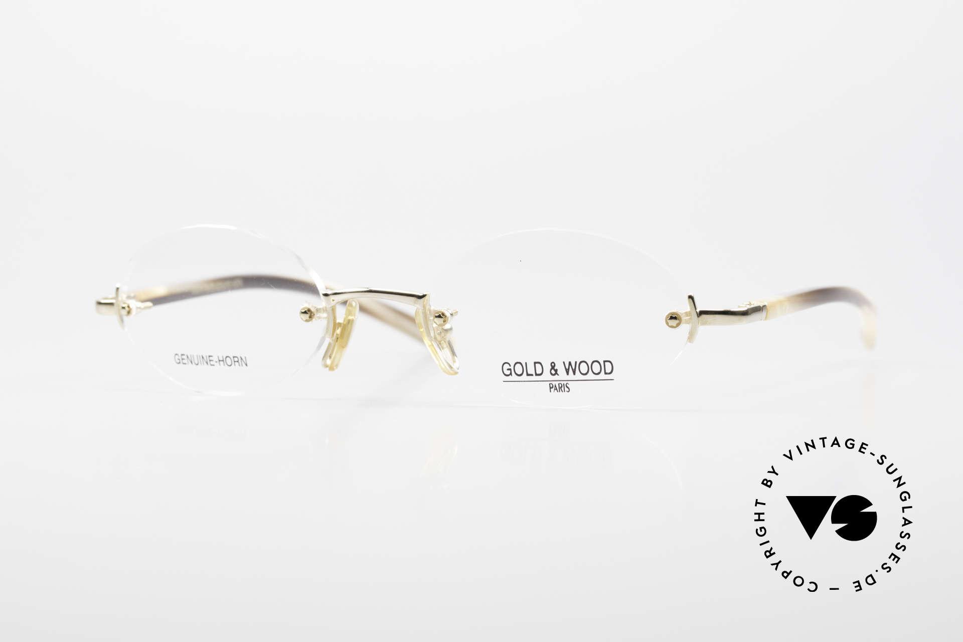 Gold & Wood 331 Rimless Genuine Horn Glasses, Gold & Wood Paris glasses, 331-06, genuine horn, Made for Men and Women