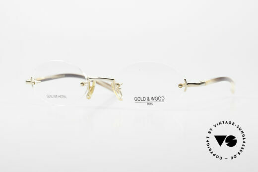 Gold & Wood 331 Rimless Genuine Horn Glasses Details