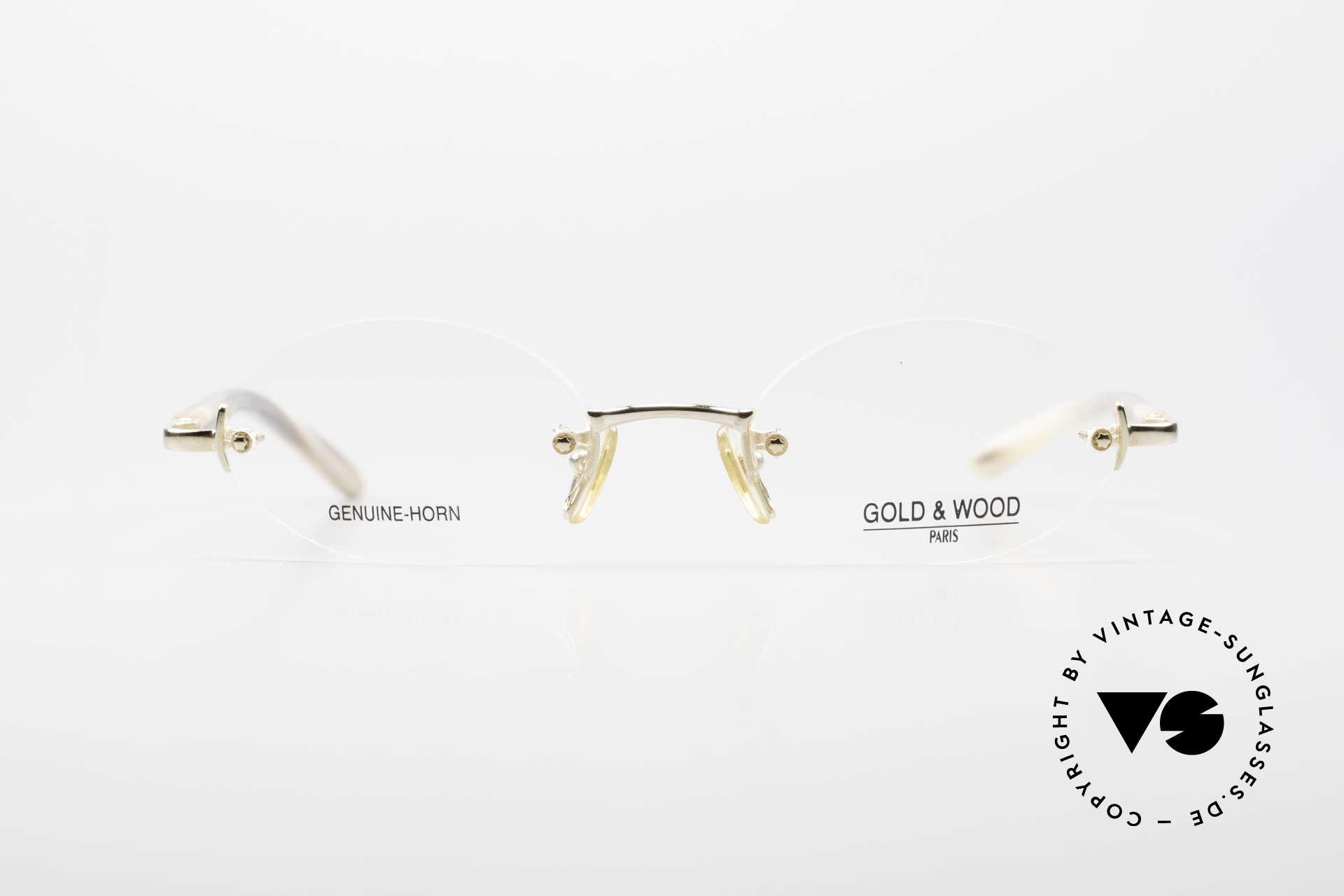 Gold & Wood 331 Rimless Genuine Horn Glasses, rimless LUXURY horn eyeglass-frame from 2001, Made for Men and Women