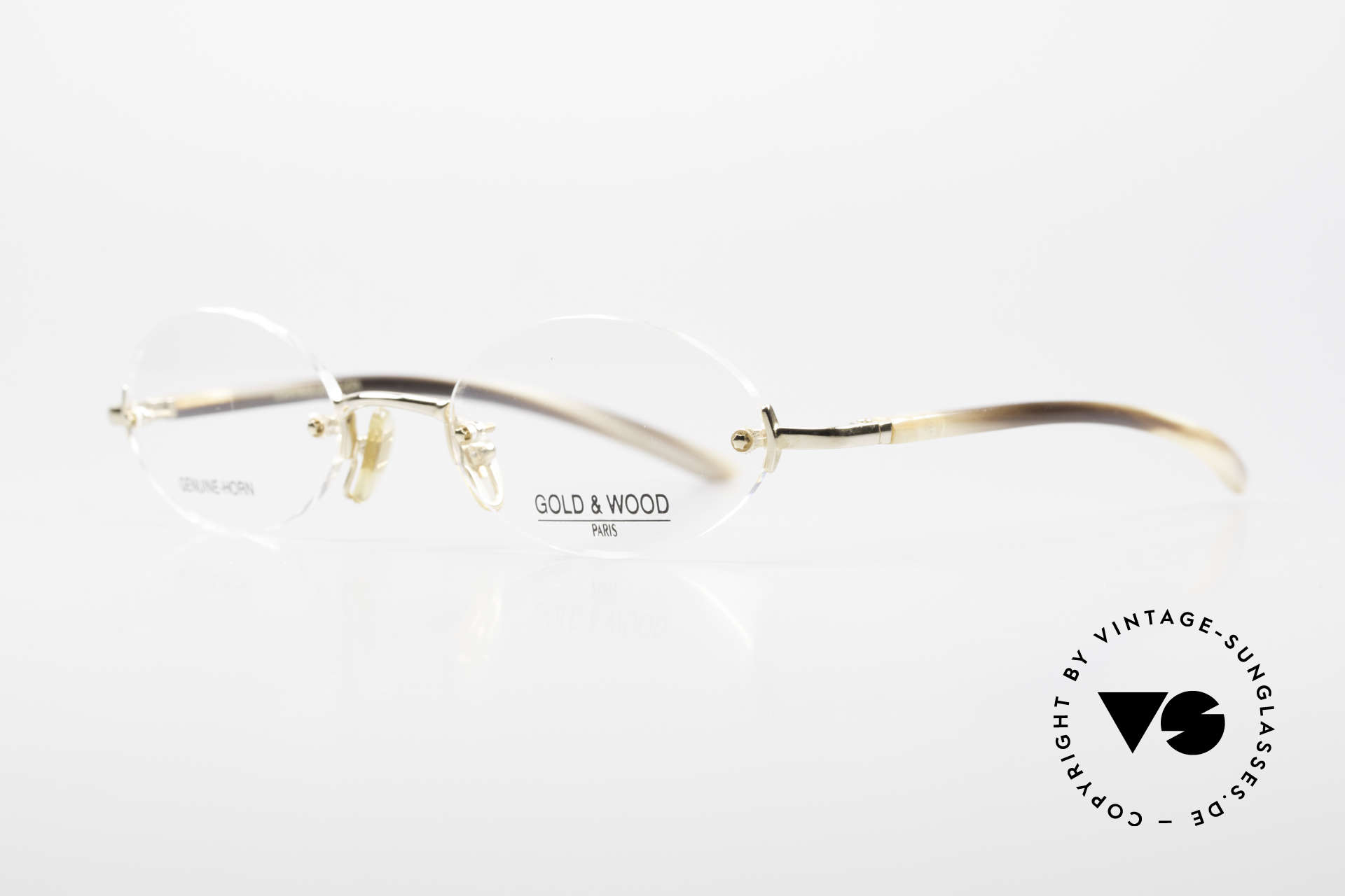 Gold & Wood 331 Rimless Genuine Horn Glasses, classic unisex model with flexible spring hinges, Made for Men and Women