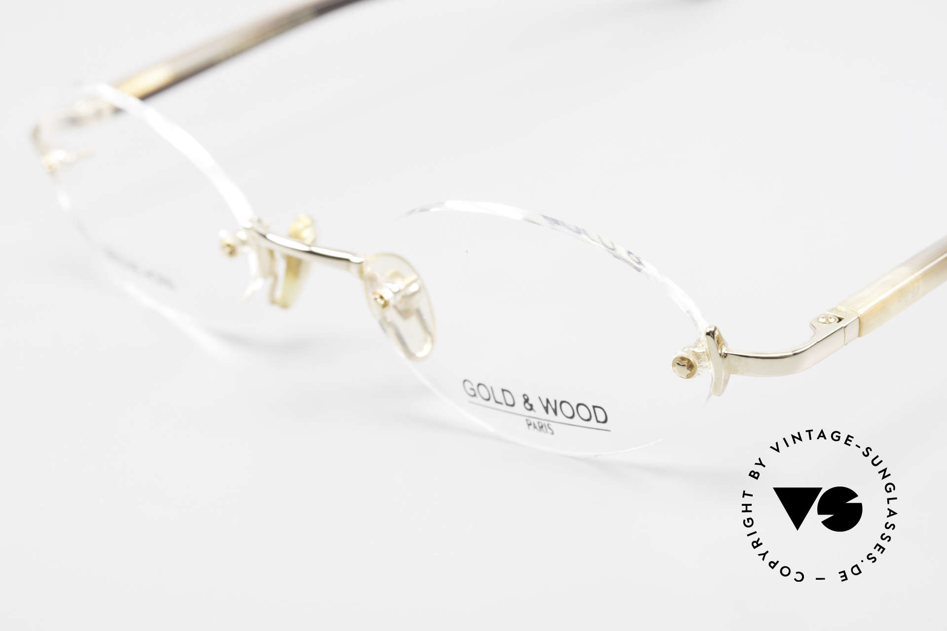 Gold & Wood 331 Rimless Genuine Horn Glasses, unworn rarity (for all lovers of quality), unique, Made for Men and Women