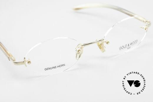 Gold & Wood 331 Rimless Genuine Horn Glasses, NO RETRO, but a precious old vintage ORIGINAL, Made for Men and Women