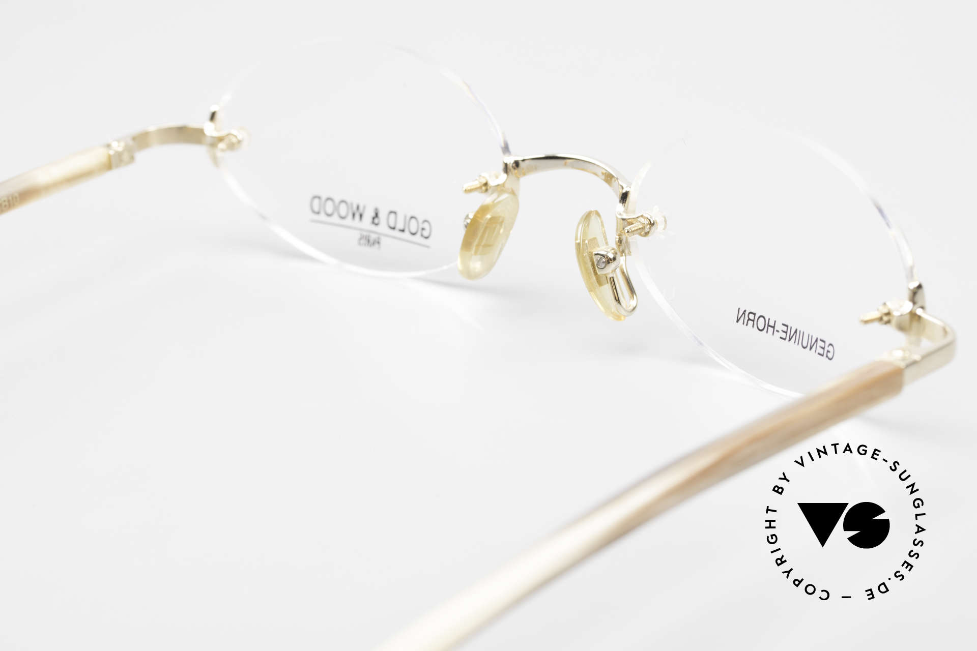 Gold & Wood 331 Rimless Genuine Horn Glasses, Size: medium, Made for Men and Women
