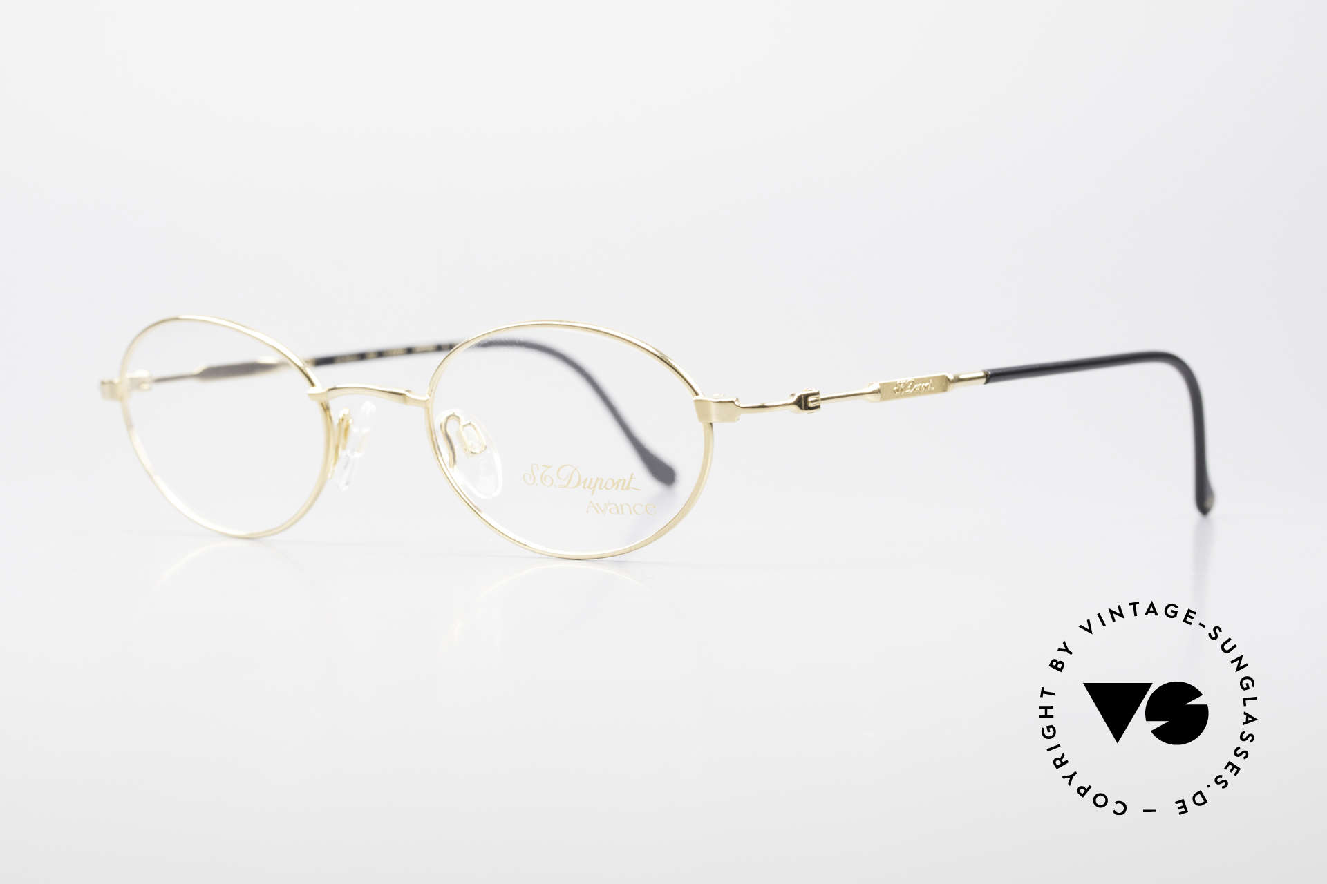 S.T. Dupont D501 Luxury Gold Plated Frame Oval, very noble and 1st class wearing comfort; in size 47/20, Made for Men and Women