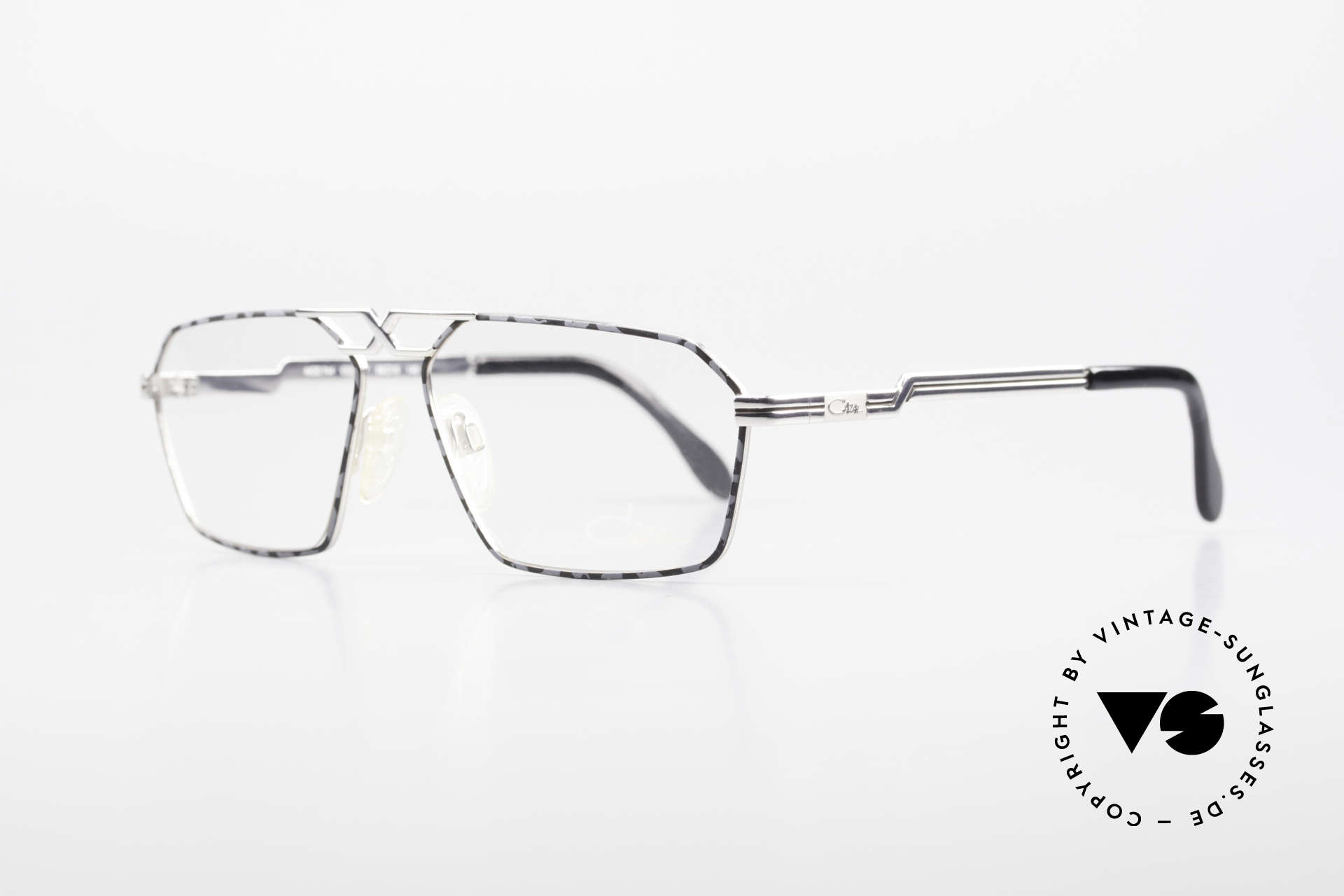 Cazal 744 90's Vintage Glasses For Men, very special frame finish: silver & marbled gray, Made for Men