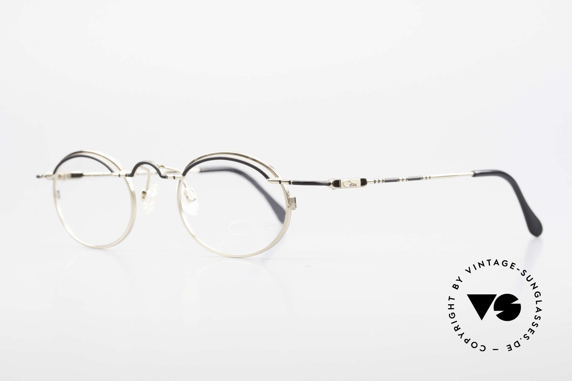 Cazal 775 Rare Oval 1990's Eyeglasses, high-grade frame finish GOLD-PLATED with black, Made for Men and Women
