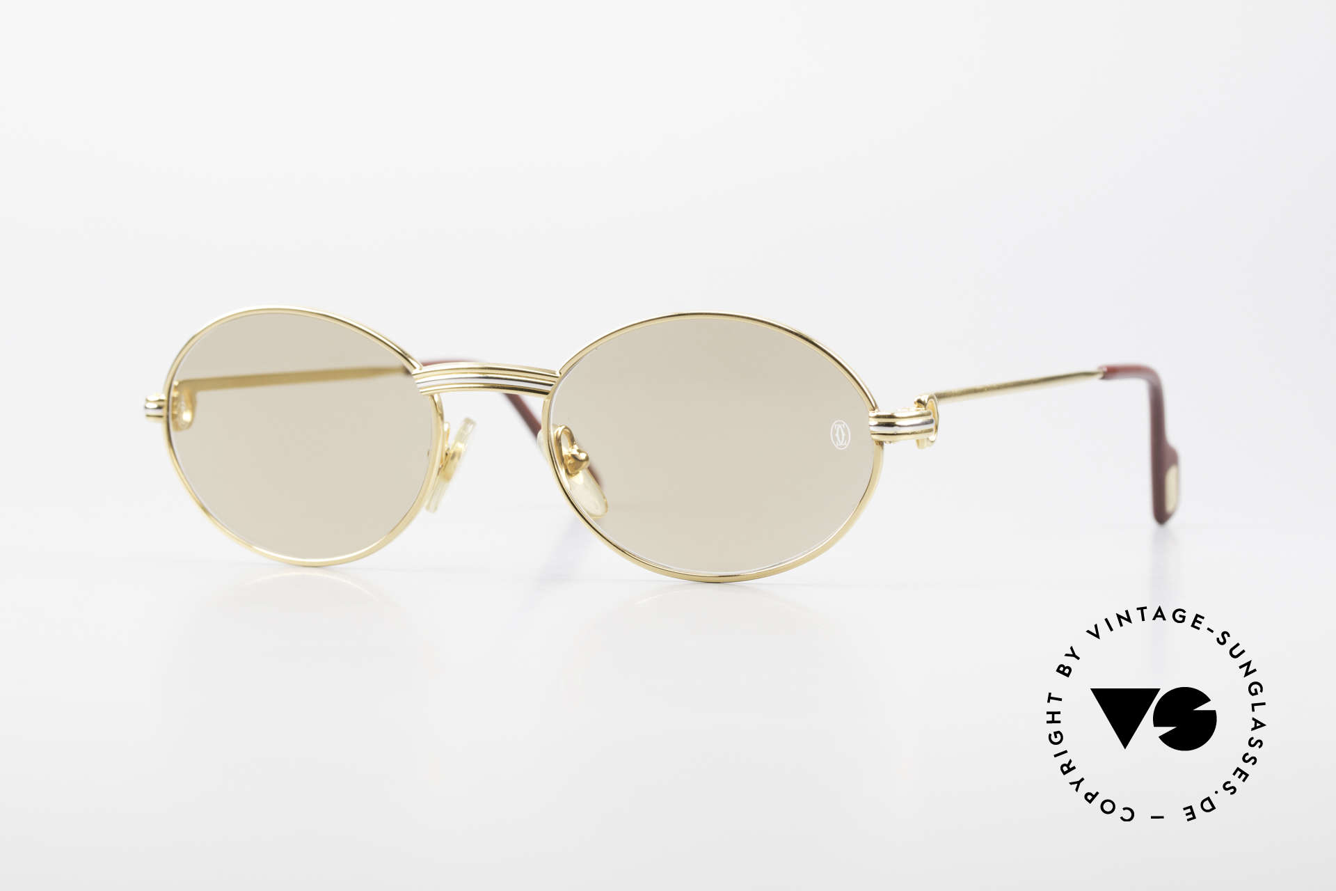 Cartier Saint Honore - S Oval 90's Luxury Sunglasses, small oval vintage CARTIER sunglasses from 1999, Made for Men and Women