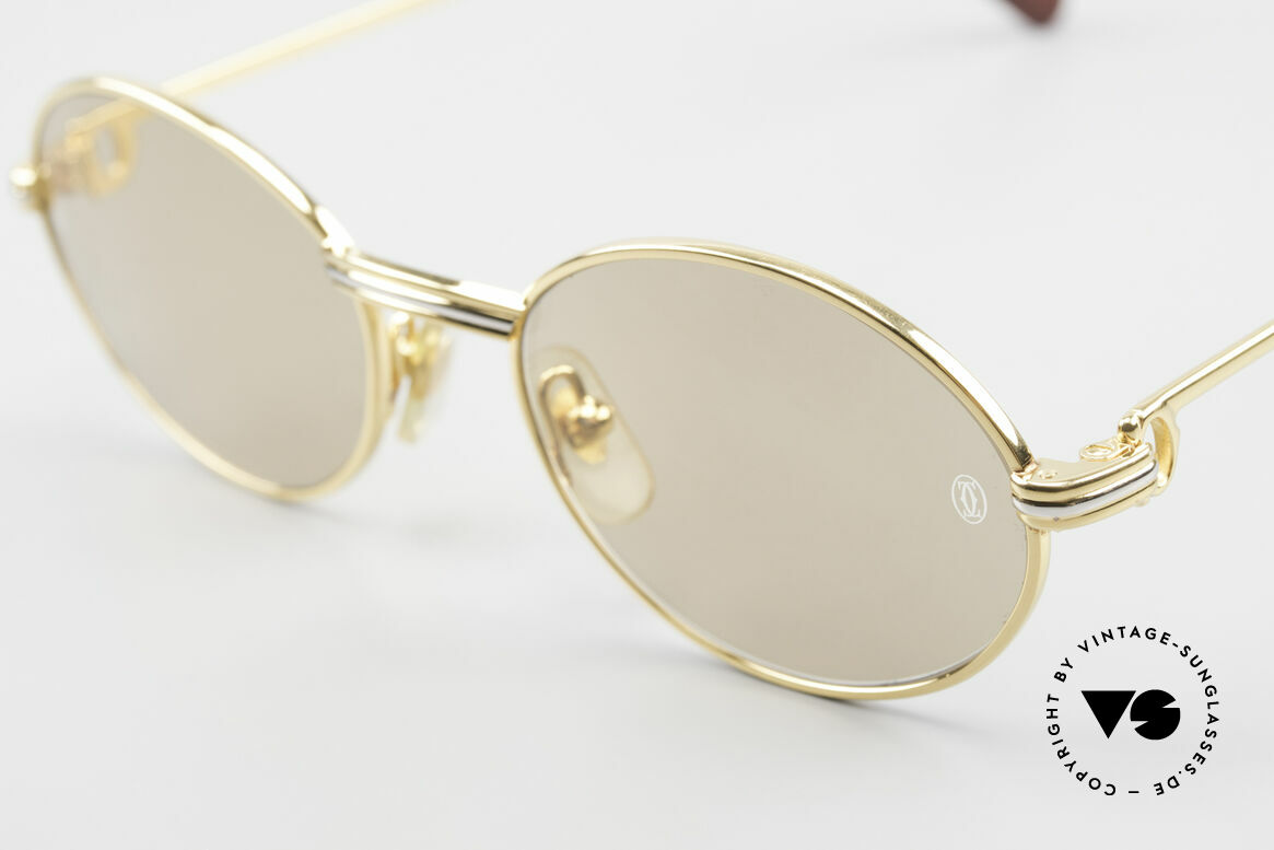 Cartier Saint Honore - S Oval 90's Luxury Sunglasses, 22ct gold-plated & orig. sun lenses with Cartier logo, Made for Men and Women