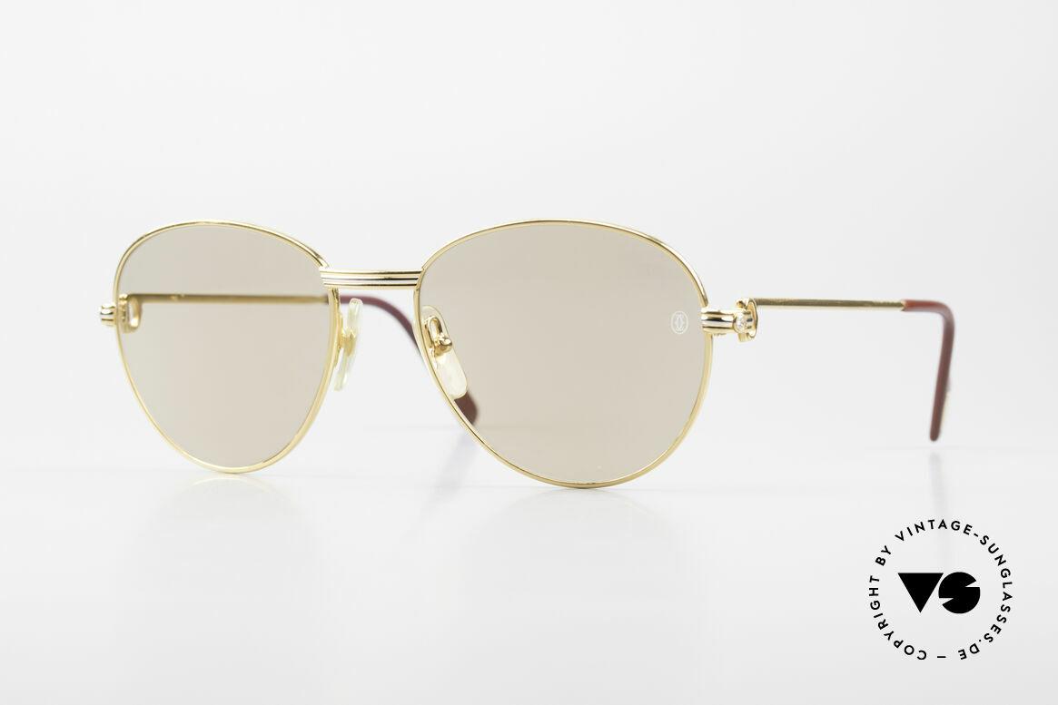 Cartier S Brillants 0,20 ct 1980's Diamond Sunglasses, round Cartier designer shades Deluxe; size 55°18, Made for Women