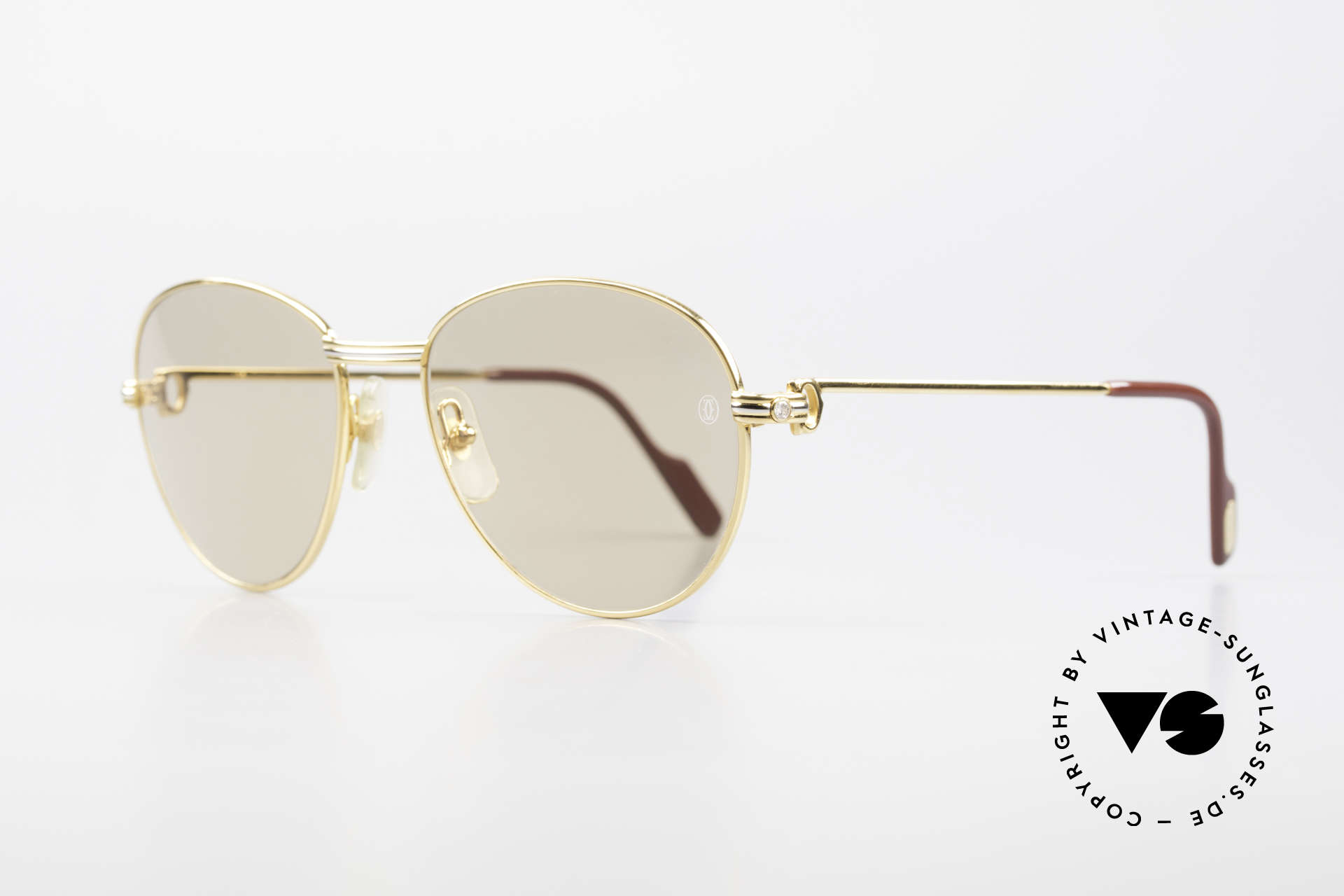 Cartier S Brillants 0,20 ct 1980's Diamond Sunglasses, with real DIAMONDS-decor on the temples (0,2 ct), Made for Women