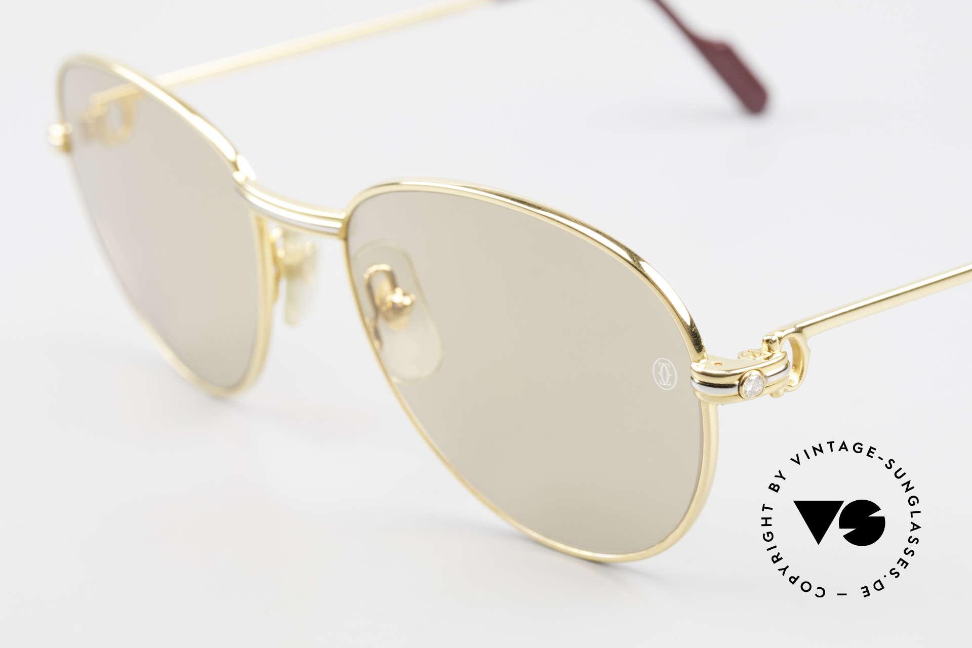 Cartier S Brillants 0,20 ct 1980's Diamond Sunglasses, original sun lenses with CARTIER logo (100% UV), Made for Women