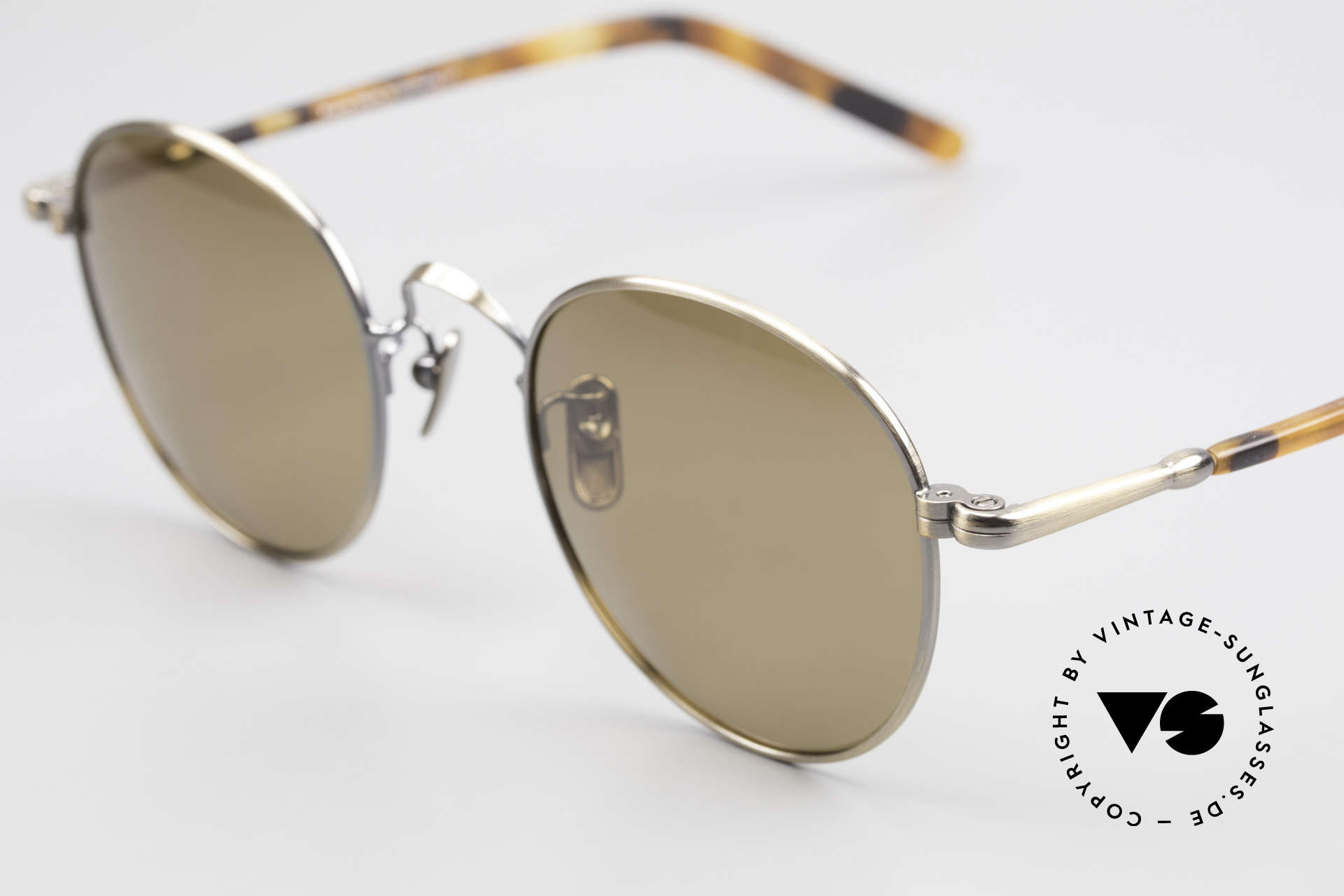 Lunor VA 111 Polarized Panto Sunglasses, with POLARIZED brown sun lenses: 100% UV protection, Made for Men