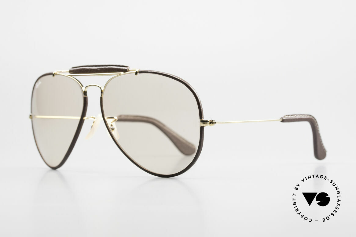 Ray Ban Outdoorsman II Changeable Leathers Shades, orig. Bausch&Lomb mineral lenses (100% UV protection), Made for Men