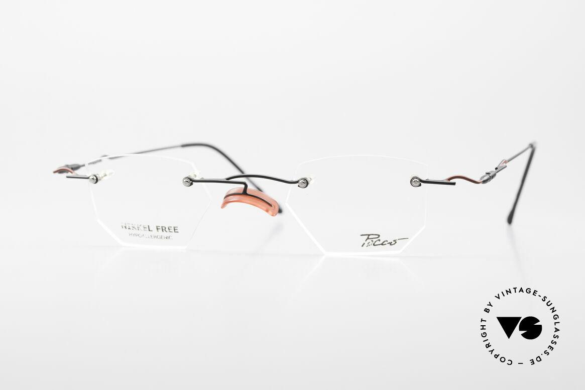 Locco Profile Crazy Vintage Eyeglasses 90's, Locco Profile 44-20, crazy rimless 90's eyeglasses, Made for Men and Women