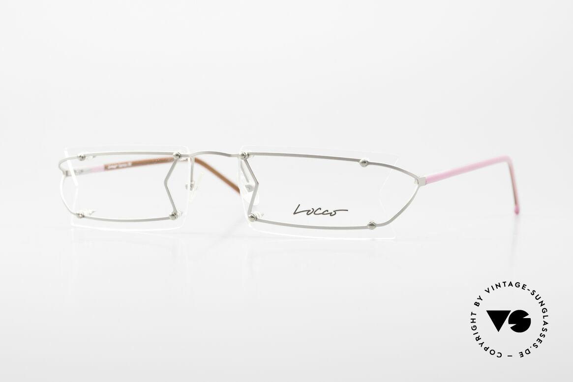 Locco Pinot Crazy Designer Eyeglasses 90's, Locco Pinot 53-18, crazy rimless 1990's eyeglasses, Made for Men and Women