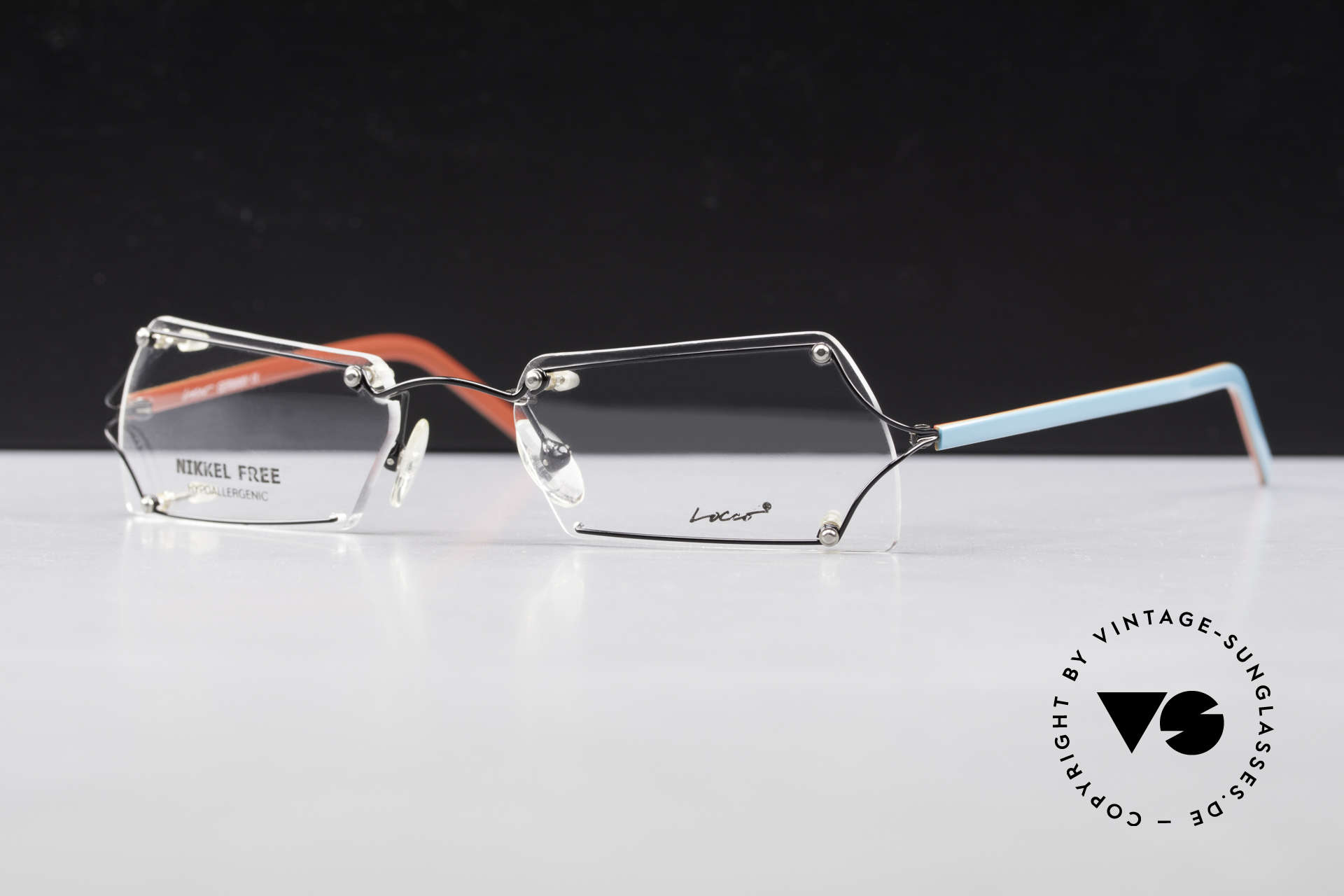 Locco Lux Crazy 90's Rimless Eyeglasses, never worn vintage rarity for cheerfulness & mirth, Made for Men and Women