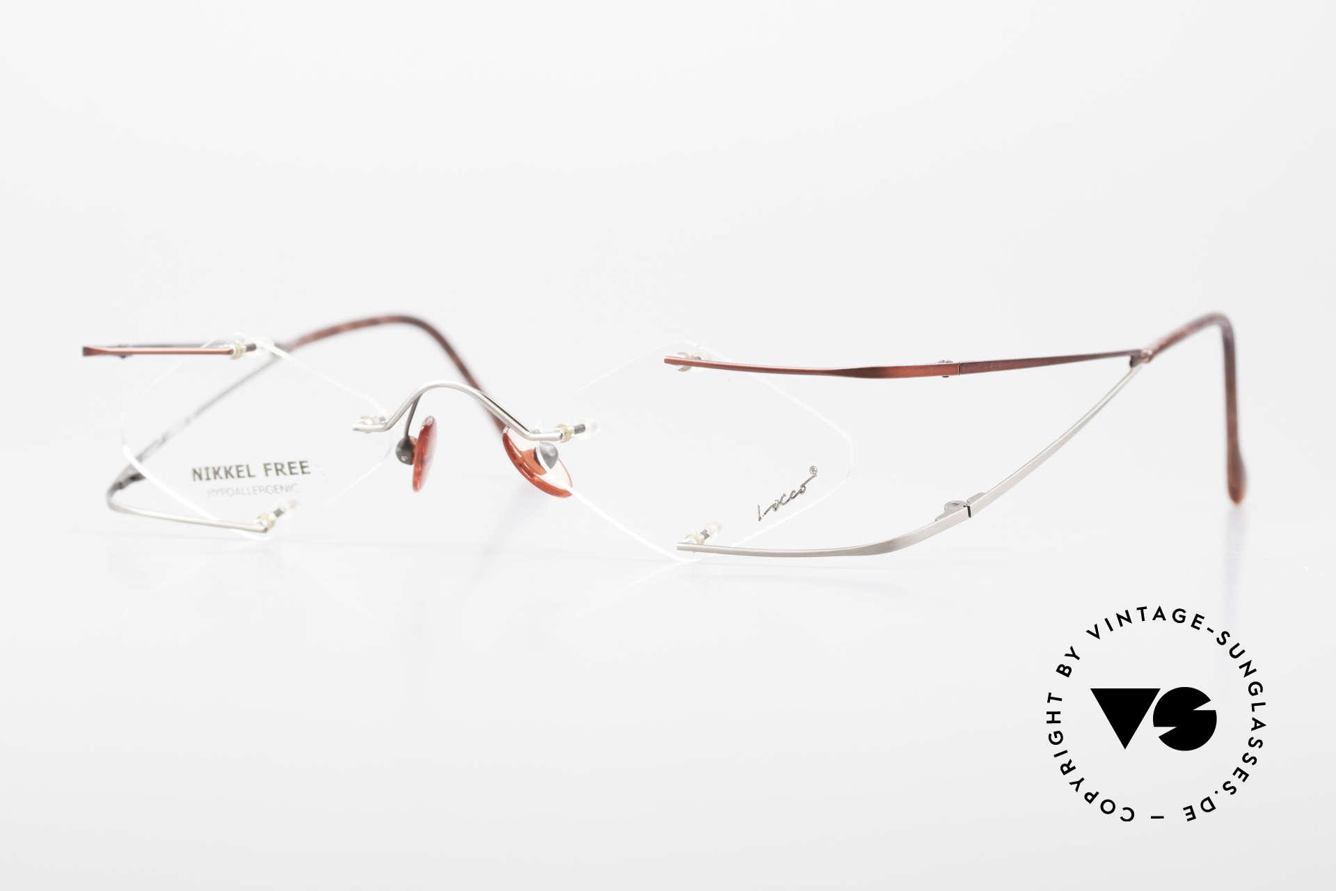 Locco Stars A Extraordinary 90's Eyeglasses, Locco Stars 45-20, crazy rimless 1990's eyeglasses, Made for Men and Women