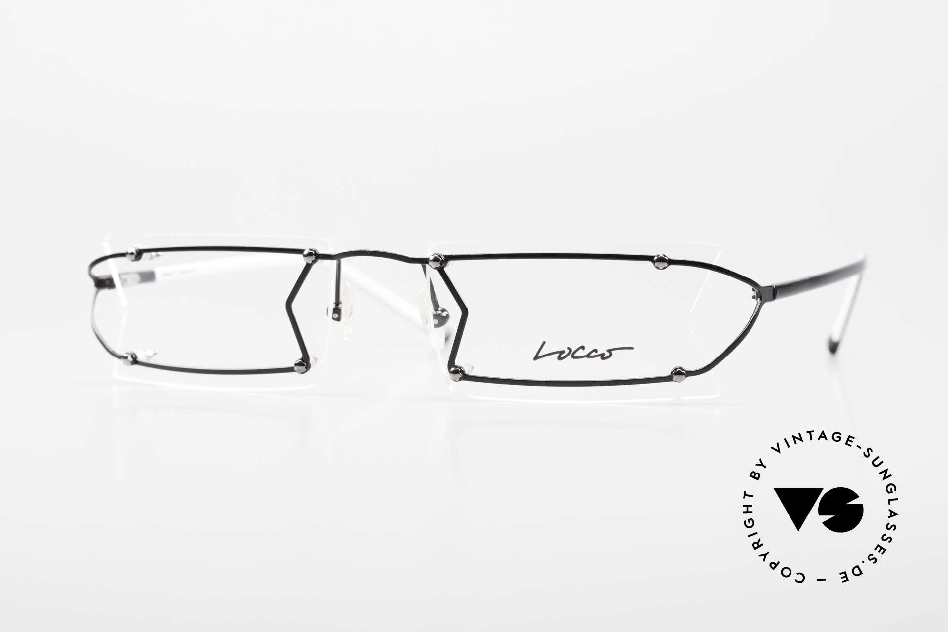 Locco Pinot Crazy 90's Rimless Eyeglasses, Locco Pinot 53-18, crazy rimless 1990's eyeglasses, Made for Men and Women