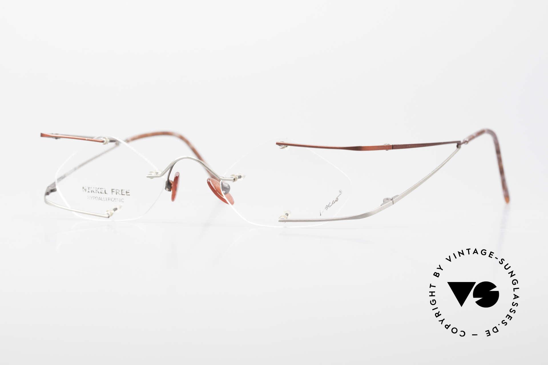 Locco Stars C Extraordinary Rimless Frame, Locco Stars 44-20, crazy rimless 1990's eyeglasses, Made for Men and Women
