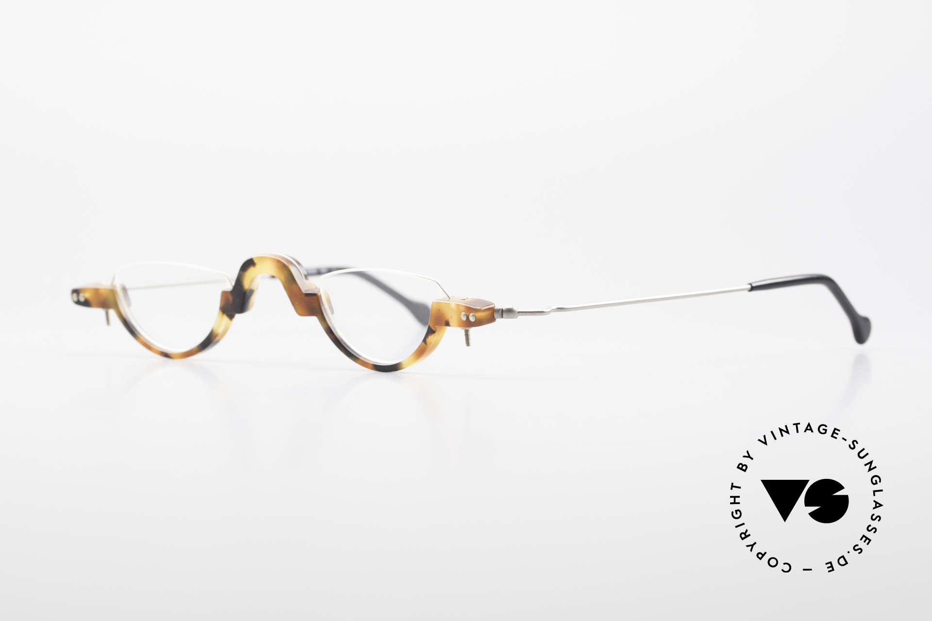 MDG Bauhaus 5010 Minimalist Reading Glasses 90s, plastic frame front, handcrafted, true collector's item, Made for Men