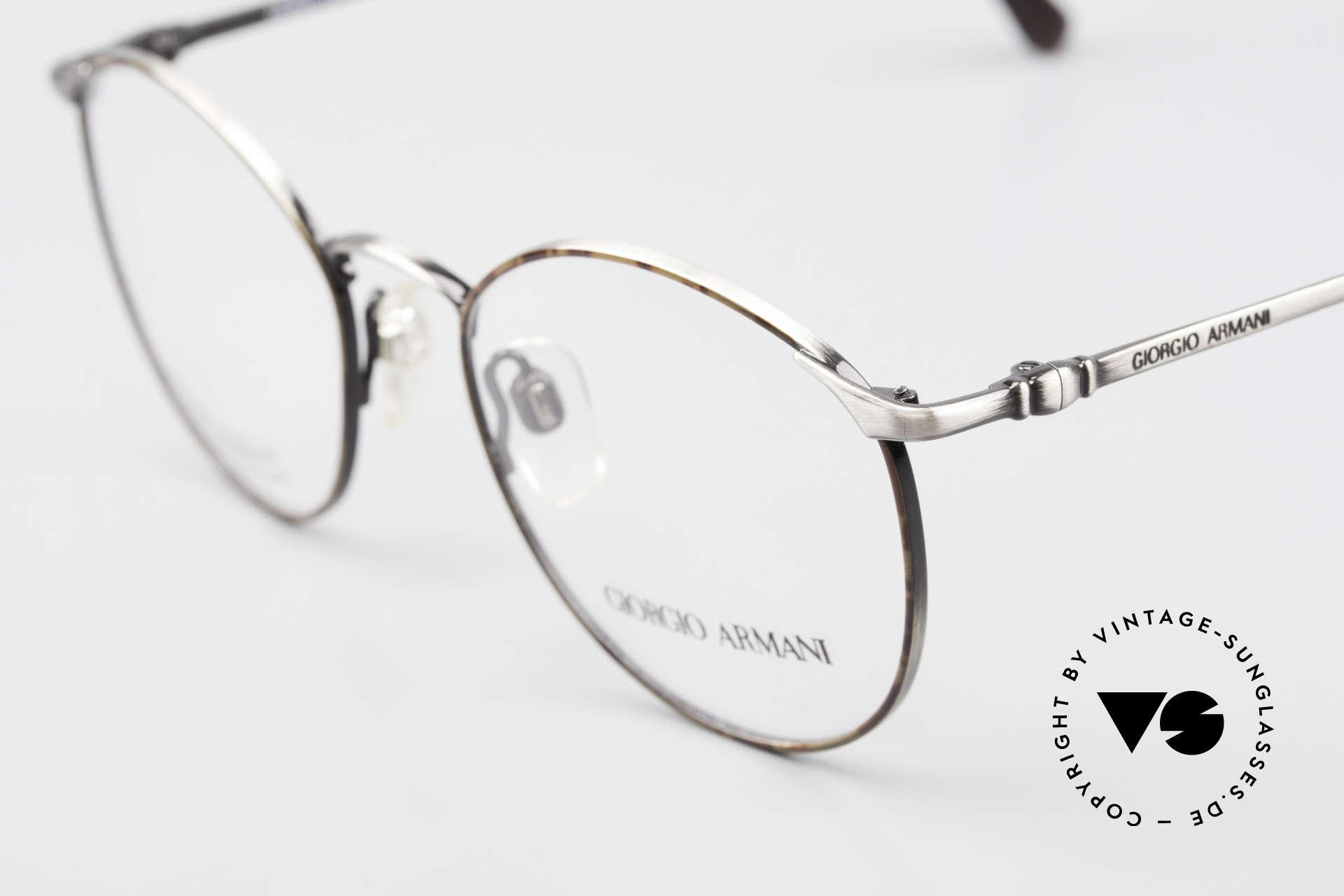 Giorgio Armani 132 Rare Old 90's Panto Eyeglasses, noble color combination of chestnut & antique-silver, Made for Men